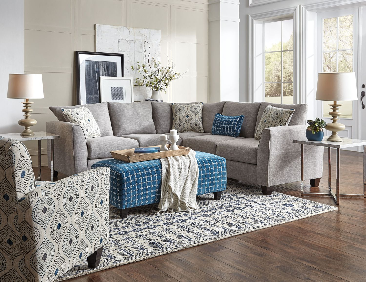 Living Room Furniture - Roswell 2-Piece Sectional Sofa - Quartz