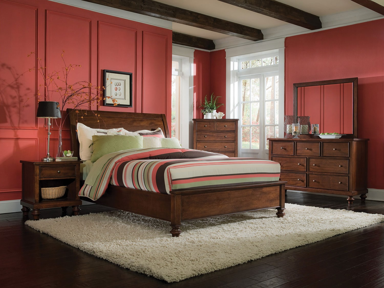 camden 4 piece queen bedroom set chestnut levin furniture 12080 | 479581