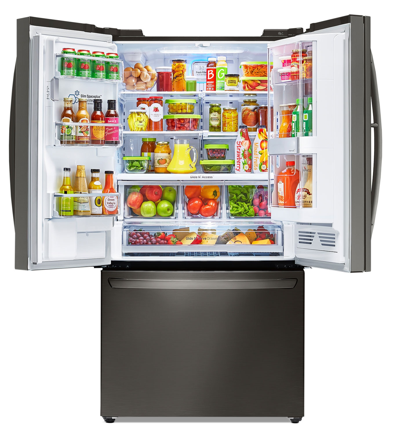 Largest Capacity Refrigerator Lg Appliances Black Stainless Steel French Door Refrigerator 296