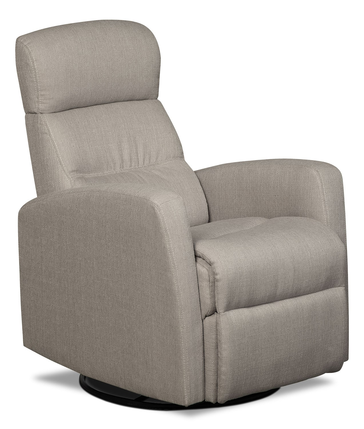 Living Room Furniture - Penny Linen-Look Fabric Swivel Rocker Reclining Chair – Taupe