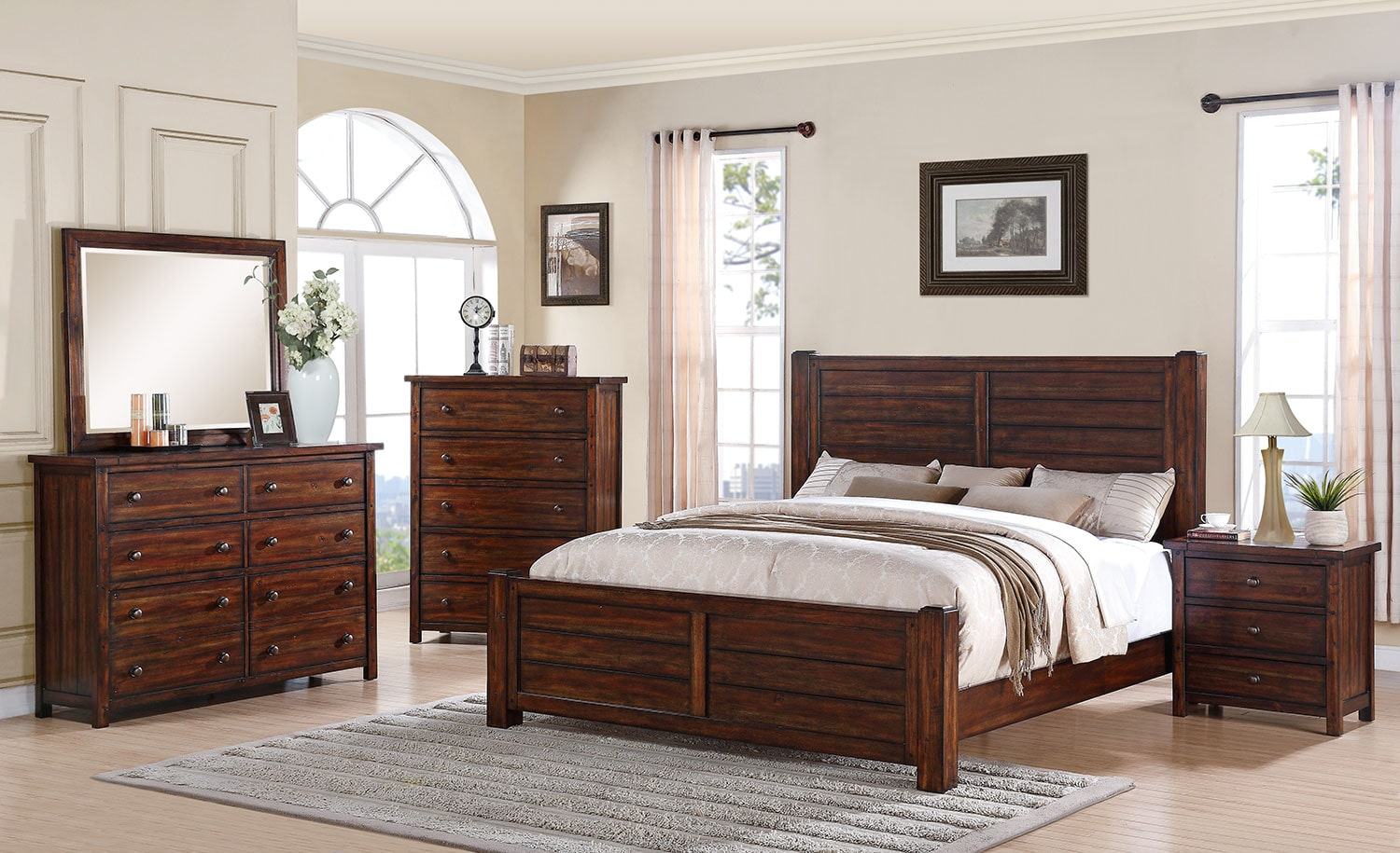 Paxton 4 Piece King Bedroom Set Chestnut Levin Furniture