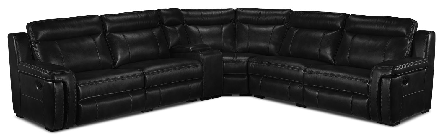 Living Room Furniture - Bolero 6 Pc. Reclining Sectional w/ Two Recliners - Black