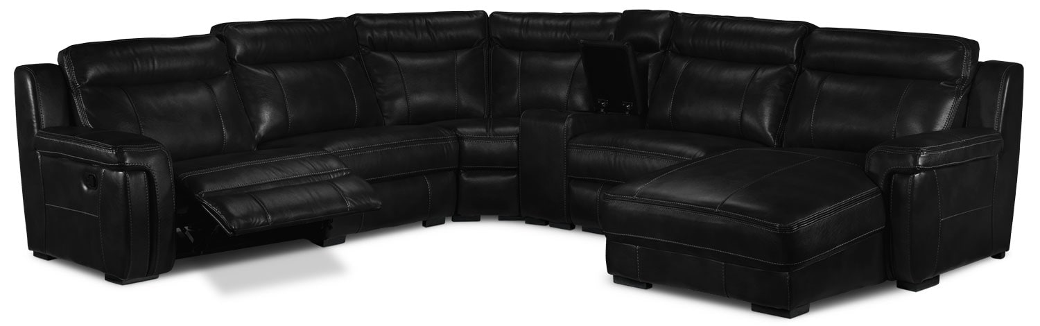 Bolero 6-Piece Reclining Sectional w/ Right-Facing Chaise - Black