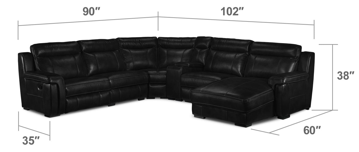 Living Room Furniture - Bolero 6-Piece Reclining Sectional w/ Right-Facing Chaise - Black