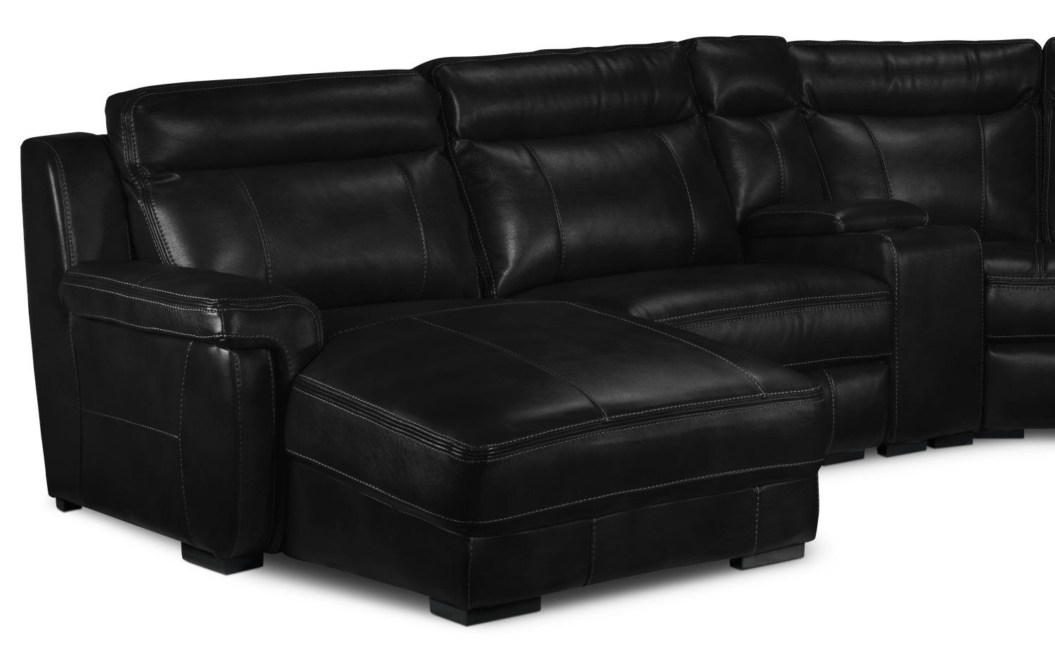 Bolero 6 piece reclining sectional w left facing chaise for Black sectional with chaise