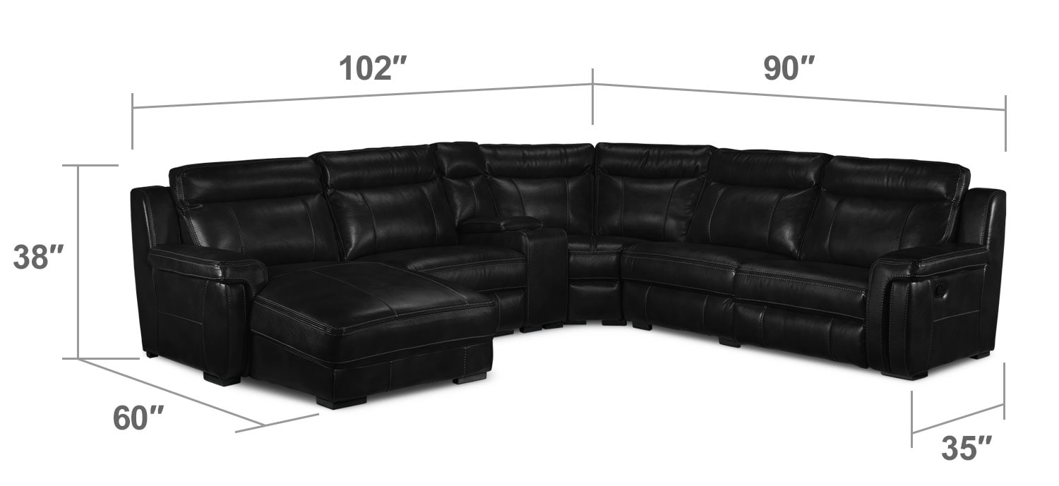 Living Room Furniture - Bolero 6-Piece Reclining Sectional w/ Left-Facing Chaise - Black