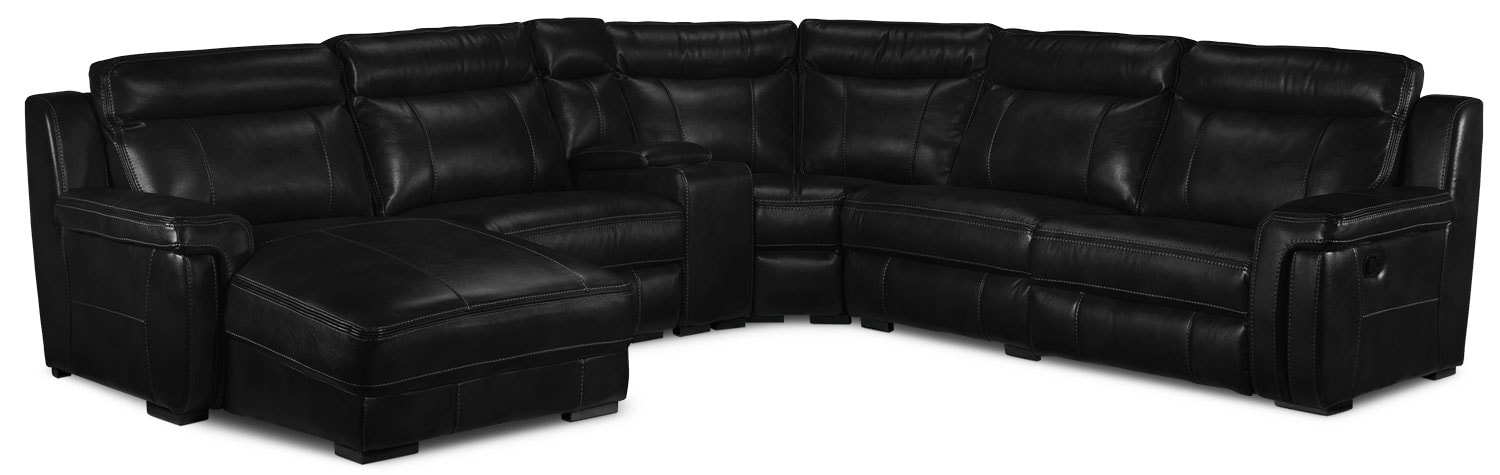 Bolero 6-Piece Reclining Sectional w/ Left-Facing Chaise - Black
