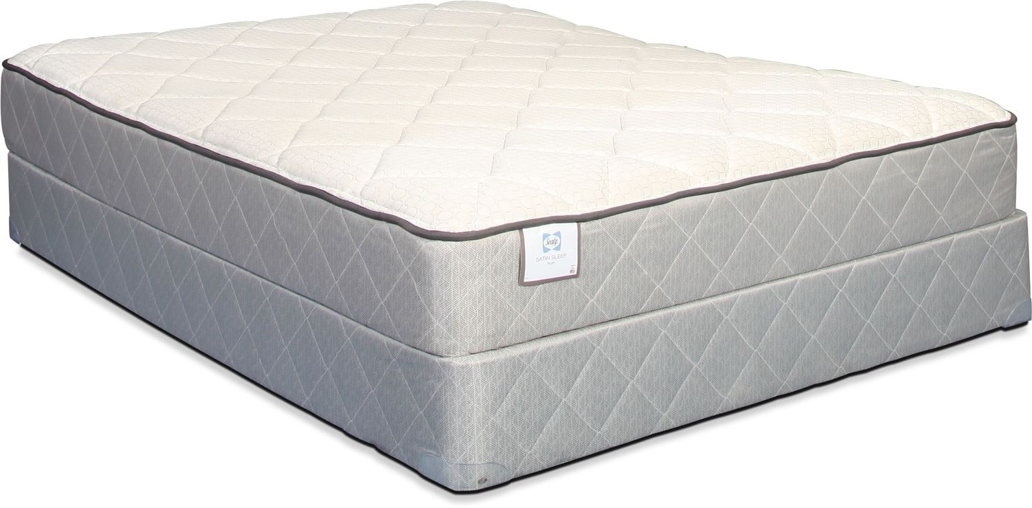 Sealy Satin Sleep Plush King Mattress and Split Boxspring Set
