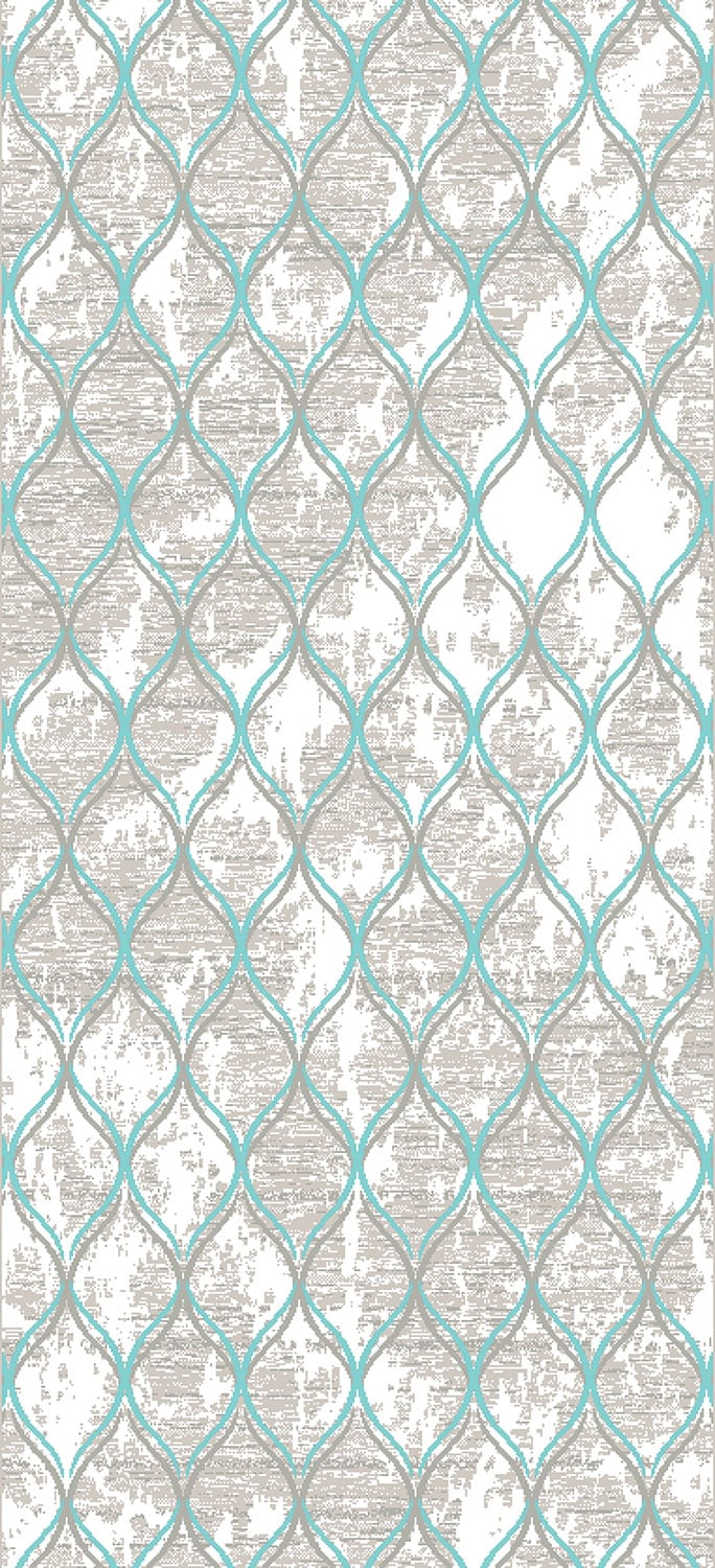 Rugs - Trellis 5' x 8' Area Rug - Aqua Blue and Grey