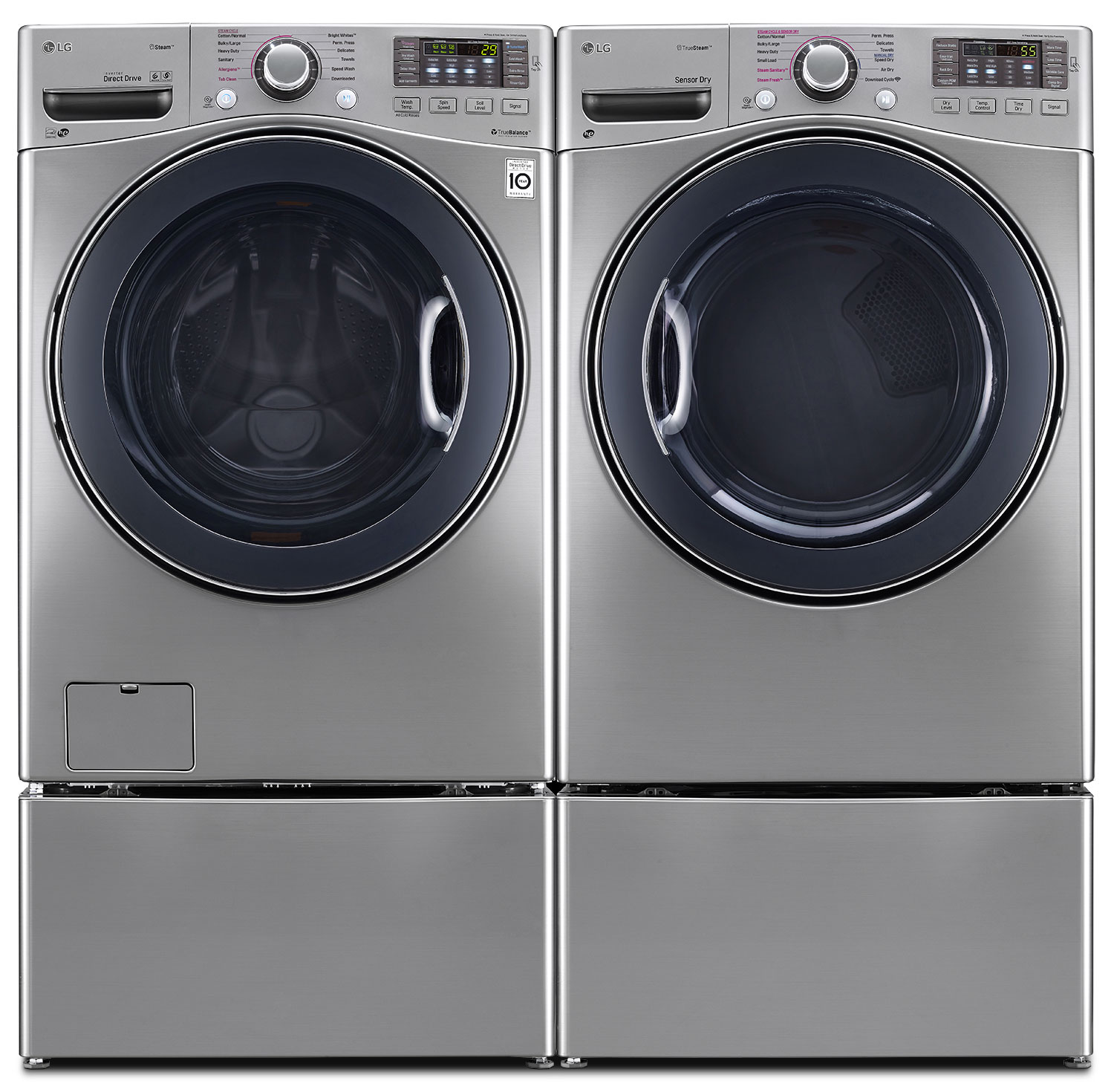 LG TWIN Wash™ 5.2 Cu. Ft. Washer, 7.4 Cu. Ft. Gas Dryer, Pedestal Washer and Storage Pedestal