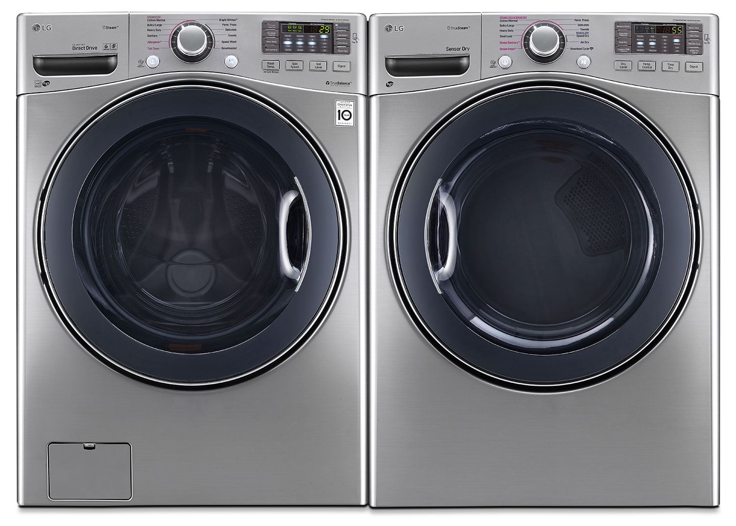 LG 5.2 Cu. Ft. Front-Load Washer and 7.4 Cu. Ft. Electric Steam Dryer – Graphite Steel