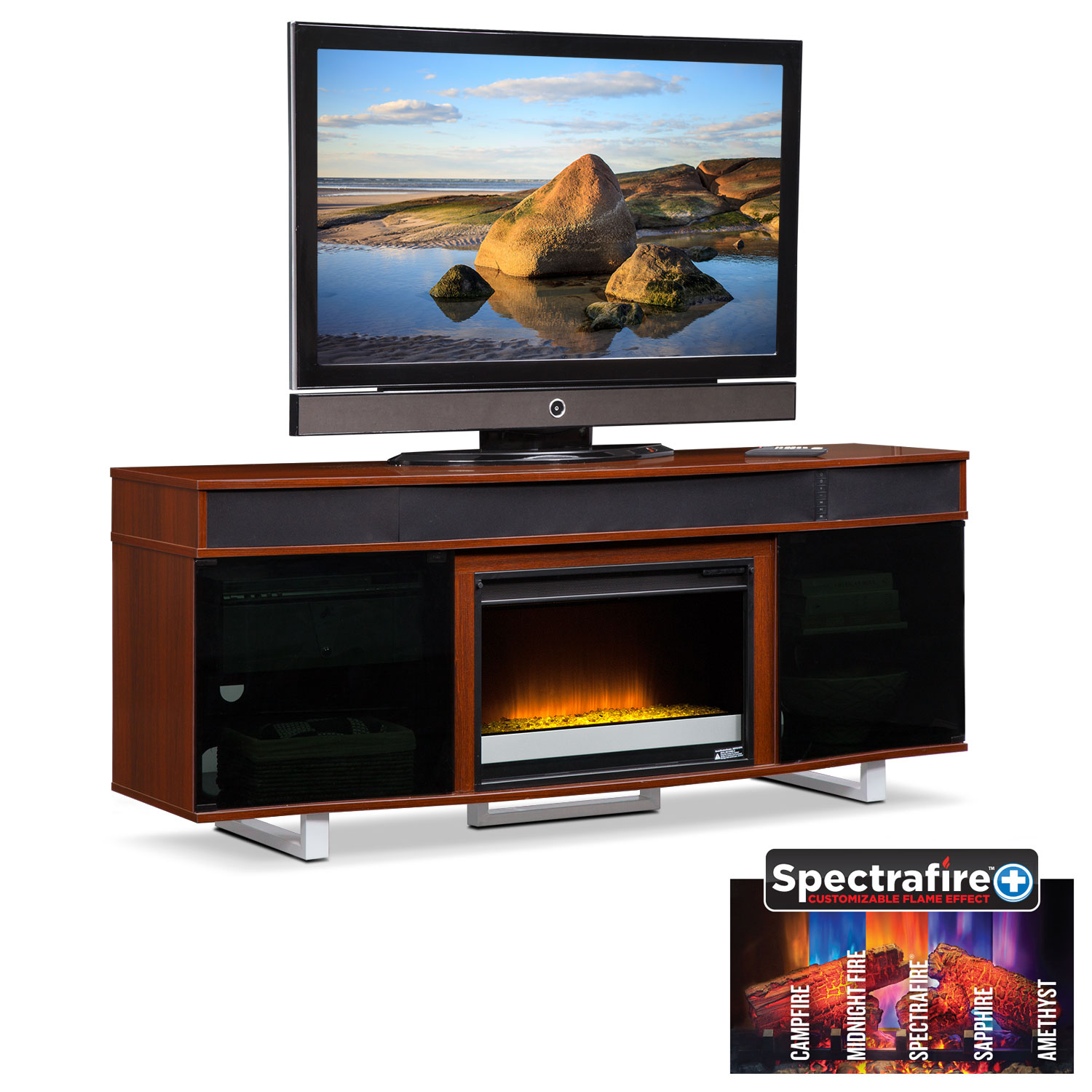 Pacer 56 Quot Contemporary Fireplace Tv Stand Cherry