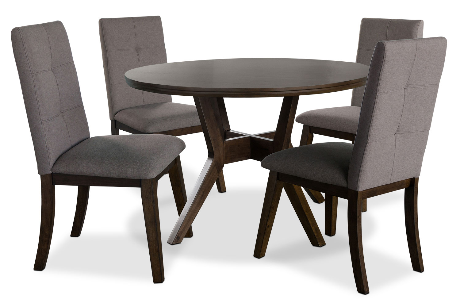 Chelsea 5 piece round dining table package with brown for Dining room tables the brick