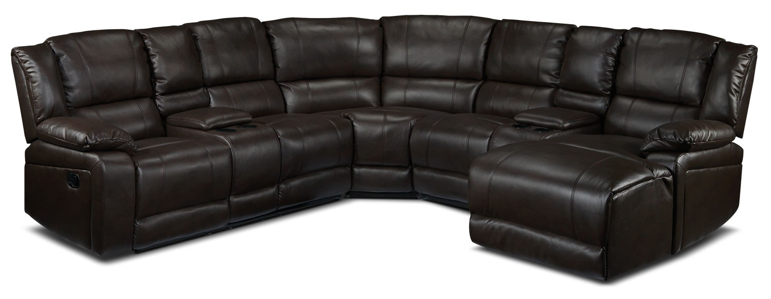 Living Room Furniture - Pryor 5-Piece Right-Facing Reclining Chaise Sectional - Chocolate