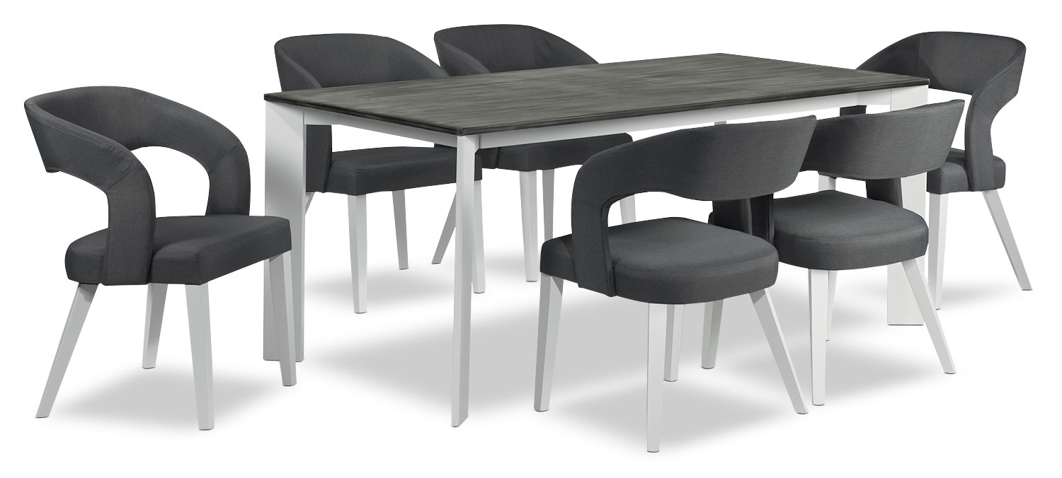 Dining Room Furniture - Christine 7-Piece Dining - Grey and White