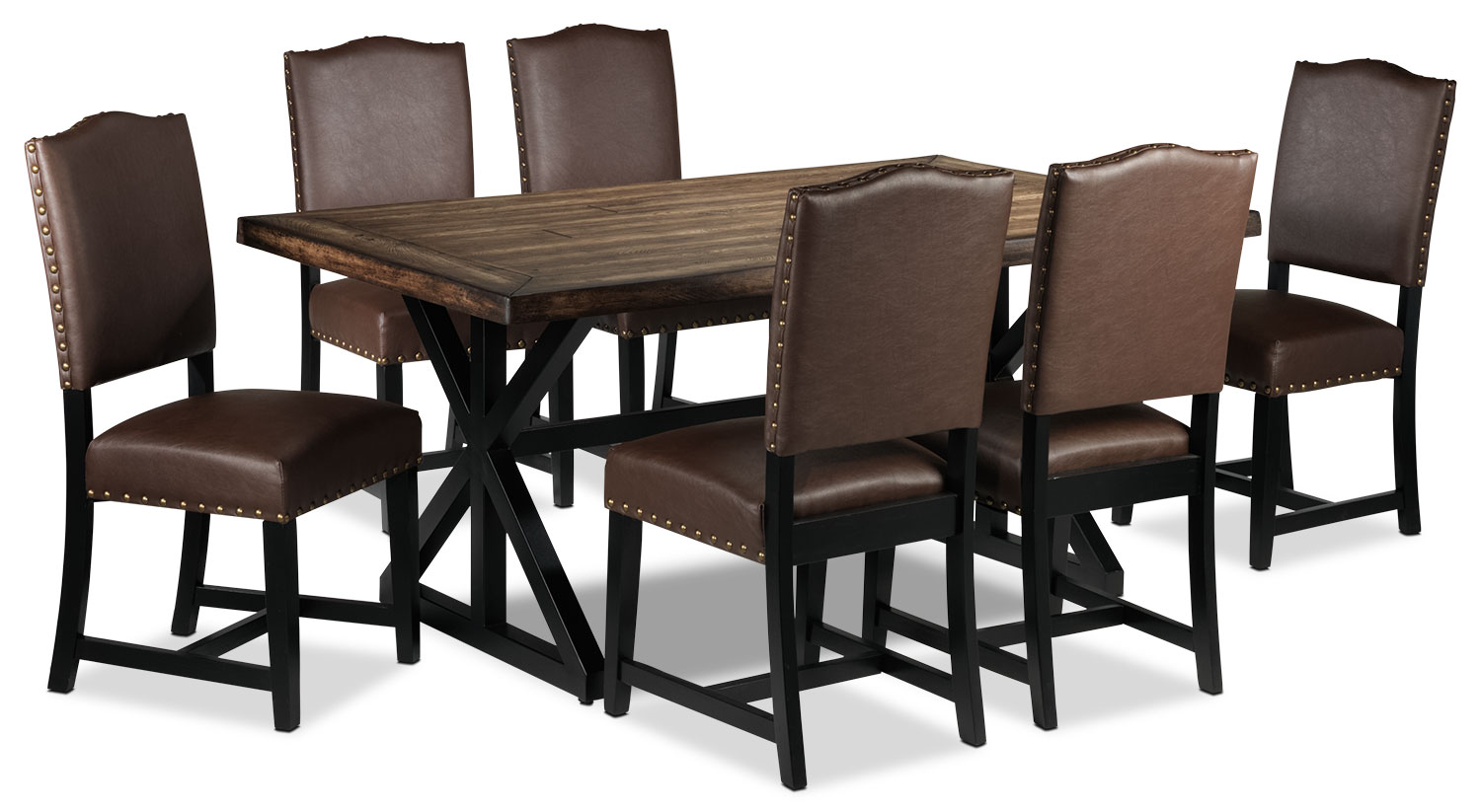 Casual Dining Room Furniture - Mabel 7-Piece Dining Set - Honey and Brown