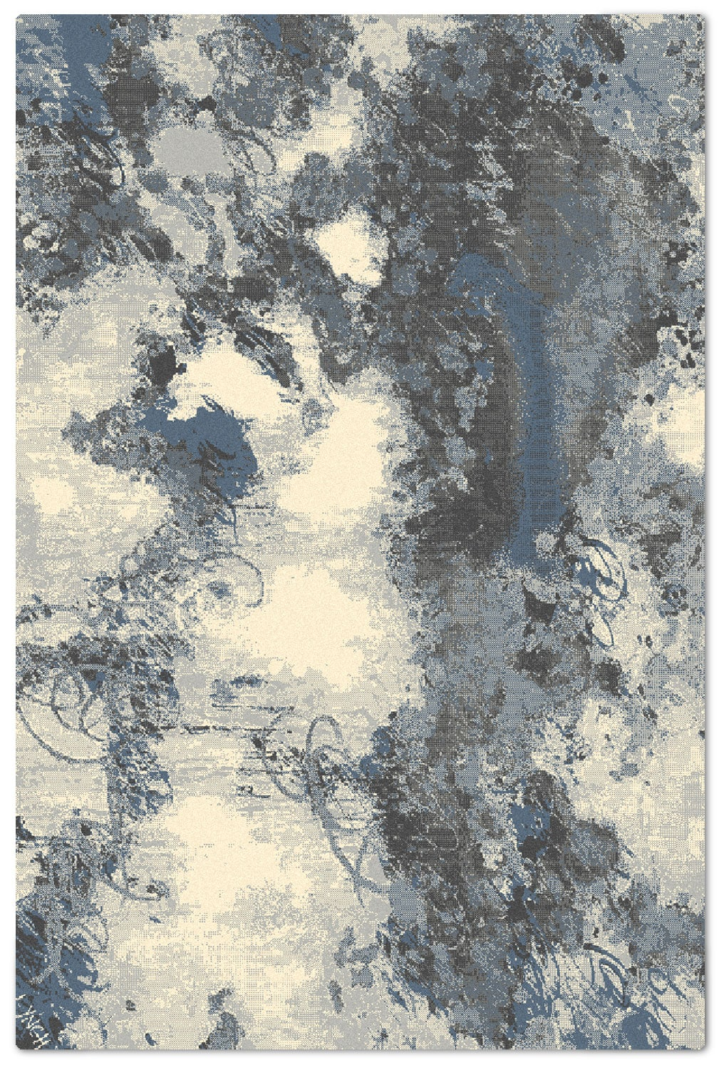 Rugs - Urban Blue 7' x 10' Area Rug - Blue, Grey and White
