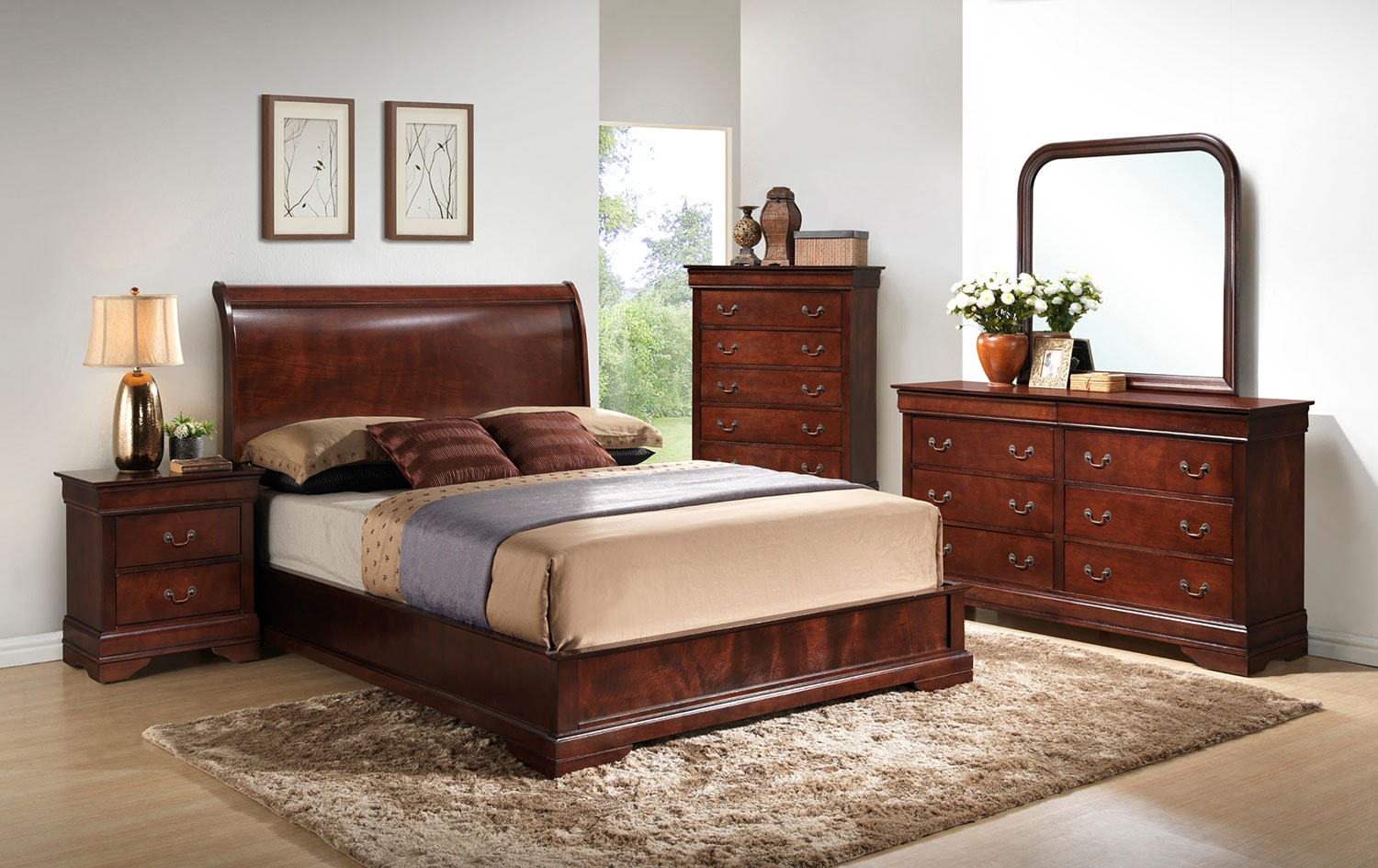 Claire 4-Piece Queen Bedroom Set - Brown Cherry