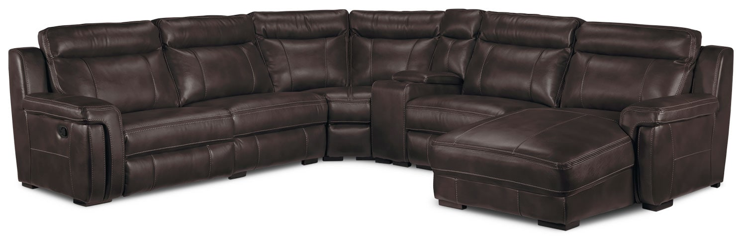 Living Room Furniture - Bolero 6-Piece Right-Facing Reclining Chaise Sectional - Coffee