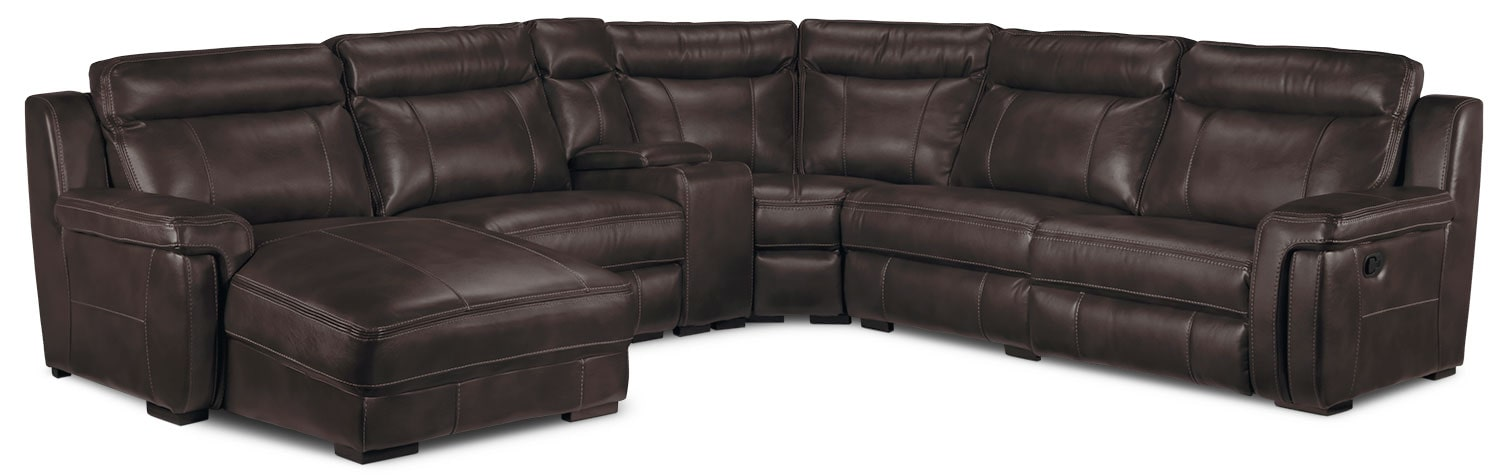 Living Room Furniture - Bolero 6-Piece Left-Facing Reclining Chaise Sectional - Coffee