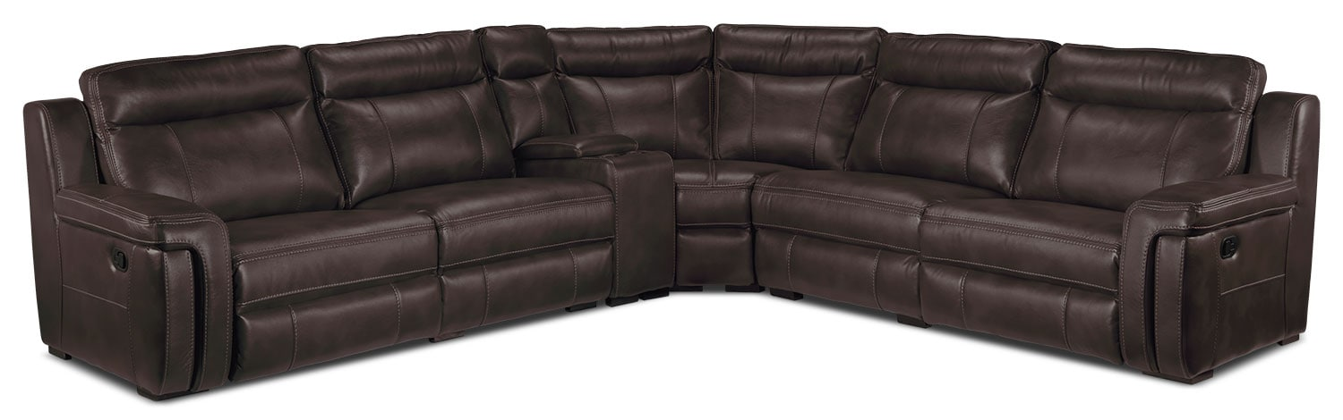 Living Room Furniture - Bolero 6-Piece Reclining Sectional - Coffee