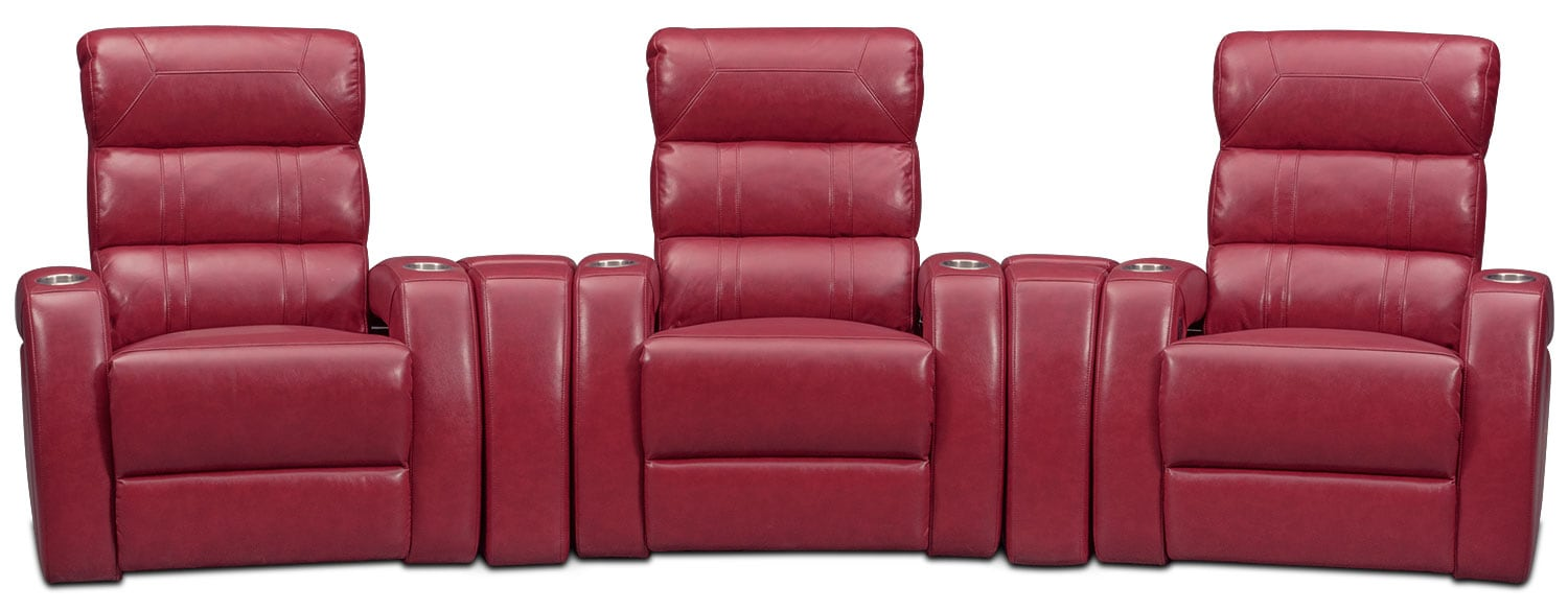 Bravo 5 piece power reclining home theater sectional red for 5 piece living room packages