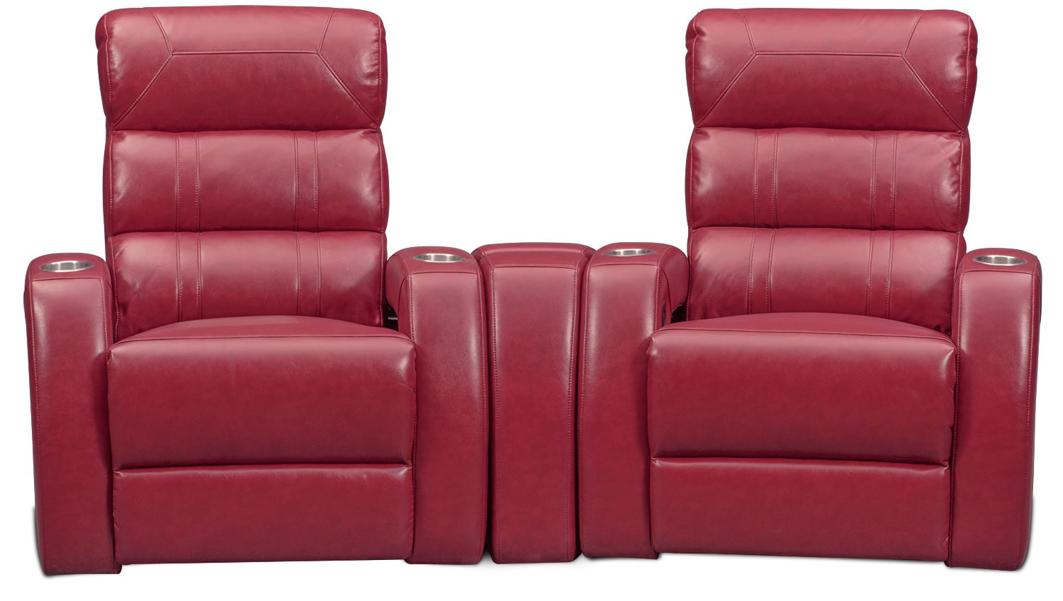 Bravo 3 piece power reclining home theater sectional red for Red sectional sofa value city