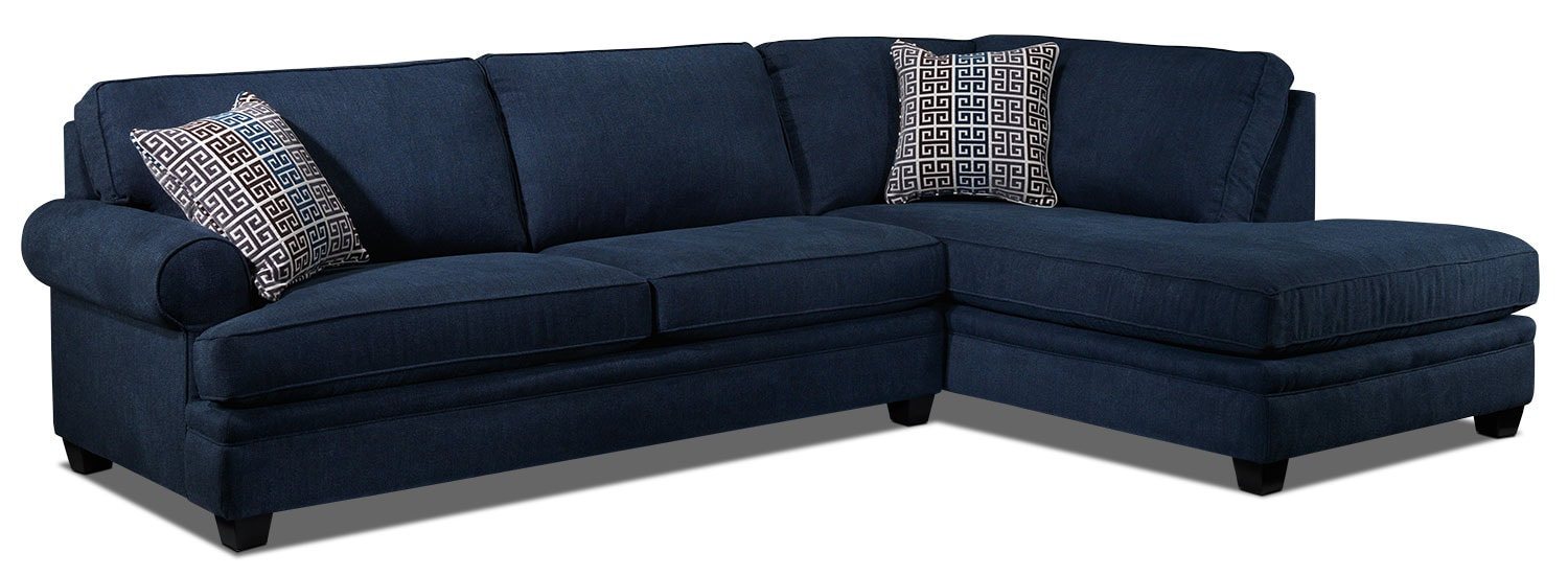 Living Room Furniture - Tammy 2-Piece Right-Facing Sectional - Blue