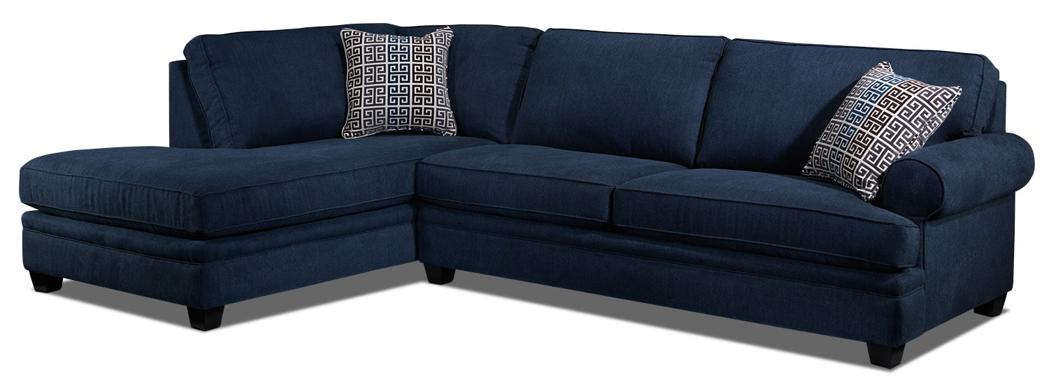 Living Room Furniture - Tammy 2-Piece Left-Facing Sectional - Blue