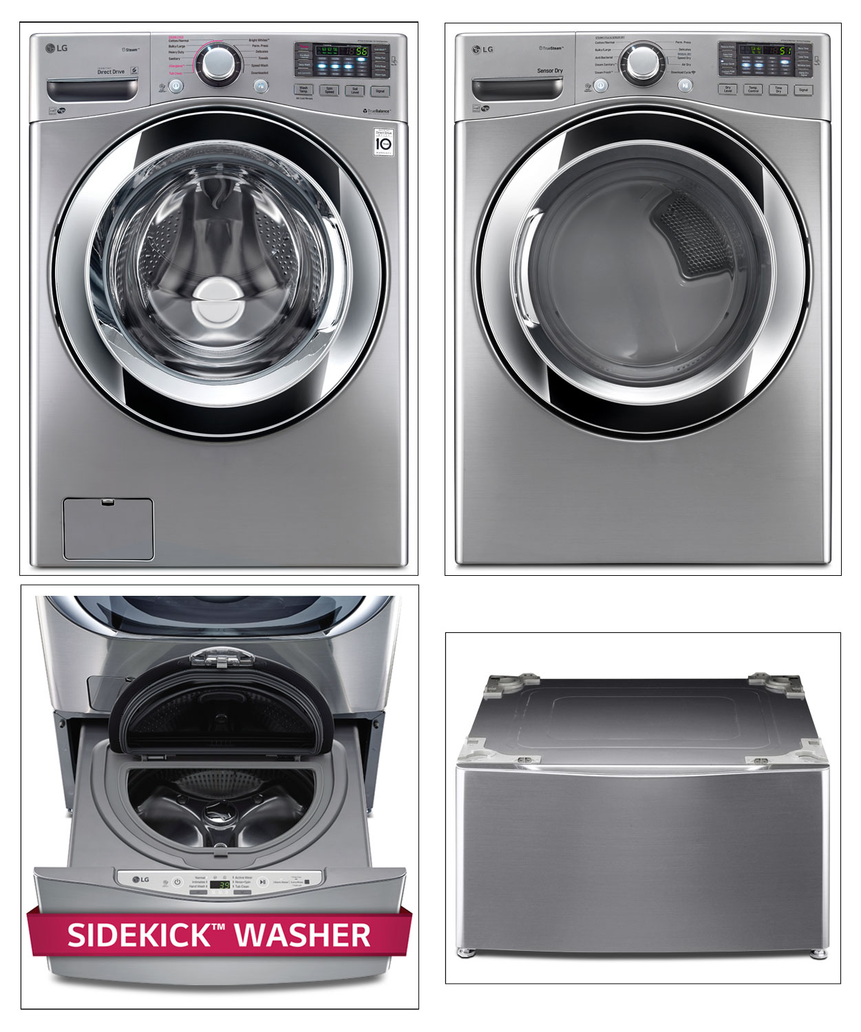 Washers and Dryers - LG Appliances Graphite Steel Washer, Dryer, Pedestal Washer and Pedestal Package
