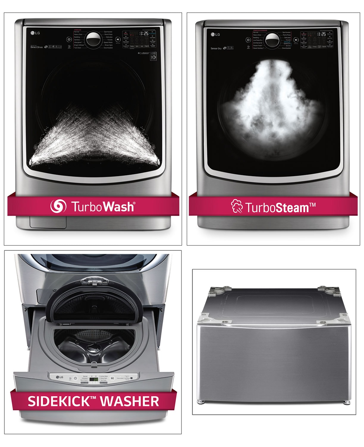 Washers and Dryers - LG Appliances Graphite Steel Turbo Washer, Dryer, Pedestal Washer and Pedestal Package