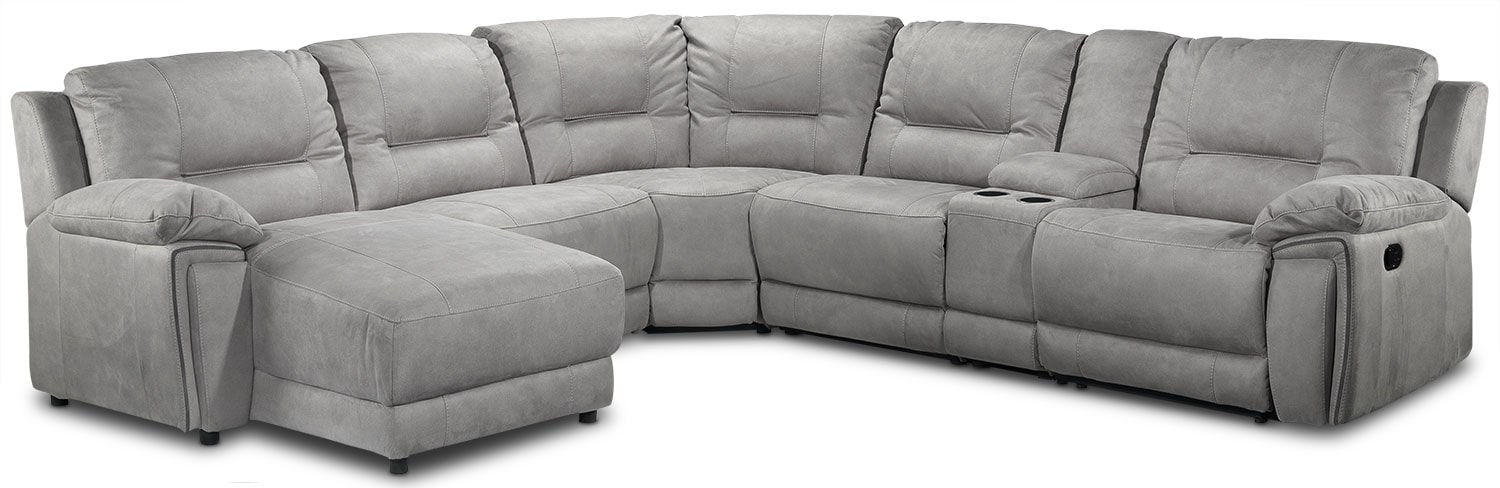 Pasadena 6-Piece Left-Facing Reclining Chaise Sectional w/ Console - Light Grey