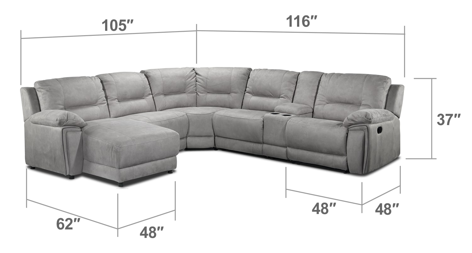 Living Room Furniture - Pasadena 6-Piece Left-Facing Reclining Chaise Sectional w/ Console - Light Grey