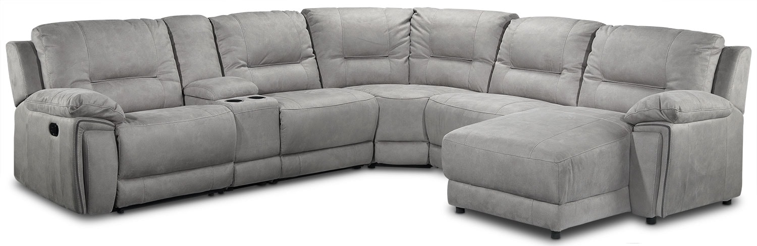 Living Room Furniture - Pasadena 6-Piece Right-Facing Reclining Chaise Sectional w/ Console - Light Grey