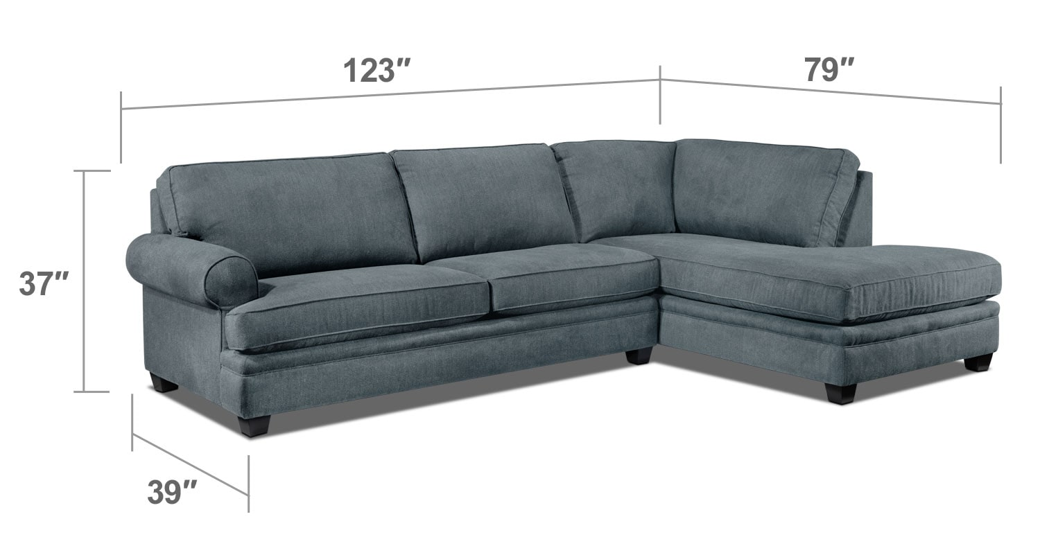 Living Room Furniture - Tammy 2-Piece Sectional - Sky