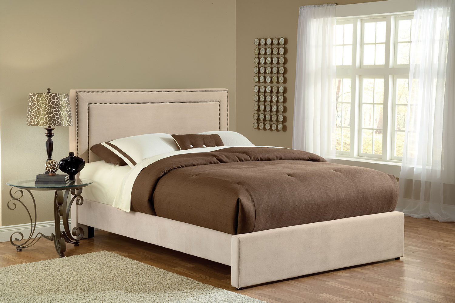 Amber Queen Bed - Beige