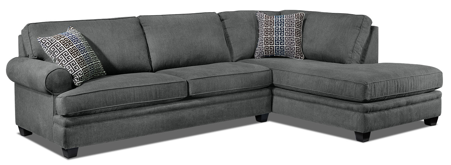 Living Room Furniture - Tammy 2-Piece Sectional - Charcoal