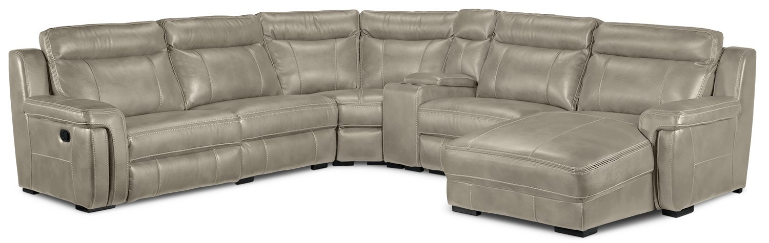 Bolero 6-Piece Right-Facing Reclining Chaise Sectional - Pewter