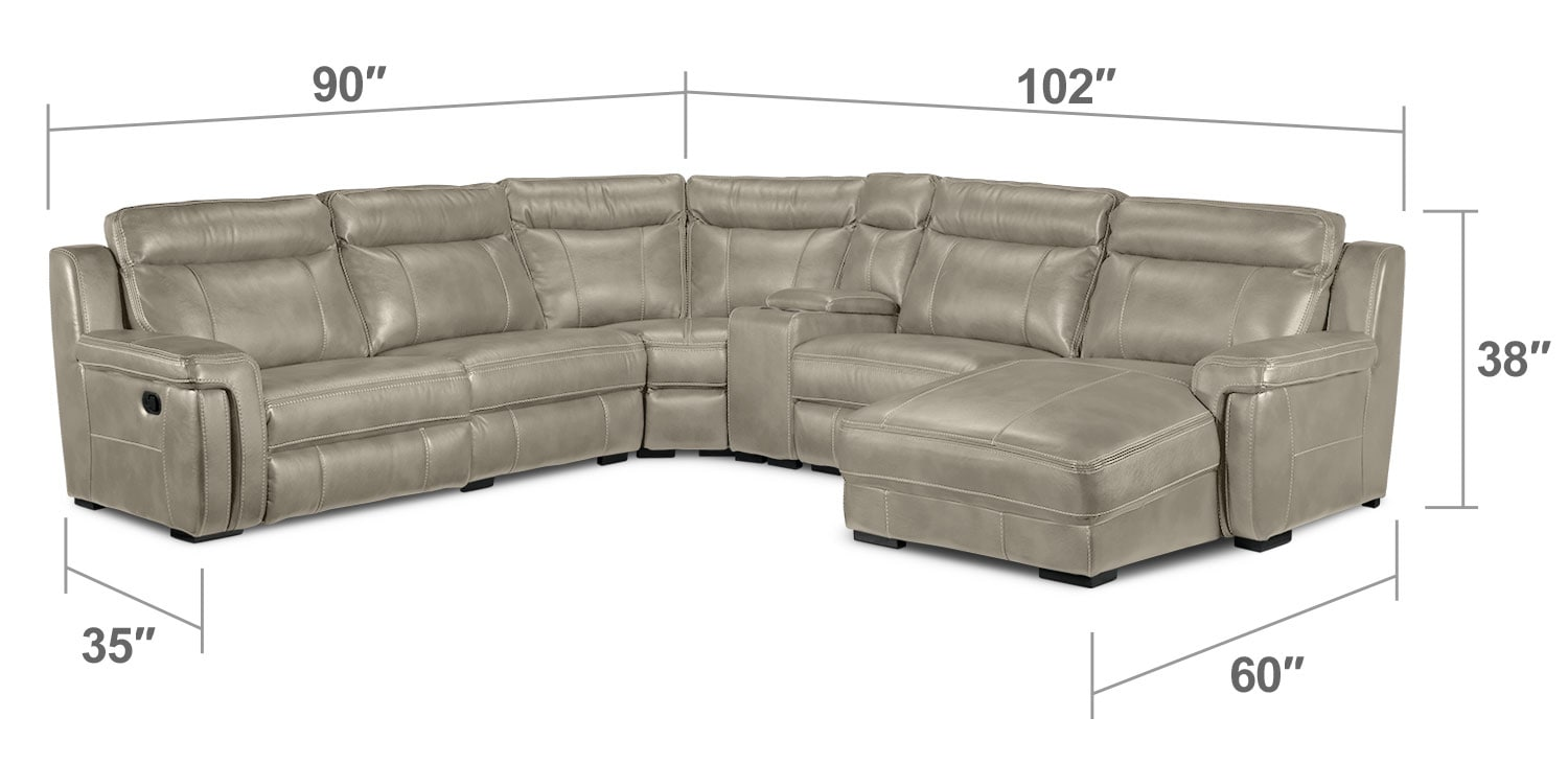 Bolero 6 piece right facing reclining chaise sectional for Chaise dimensions