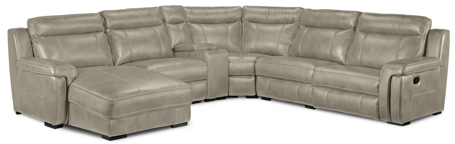 Living Room Furniture - Bolero 6-Piece Left-Facing Reclining Chaise Sectional - Pewter