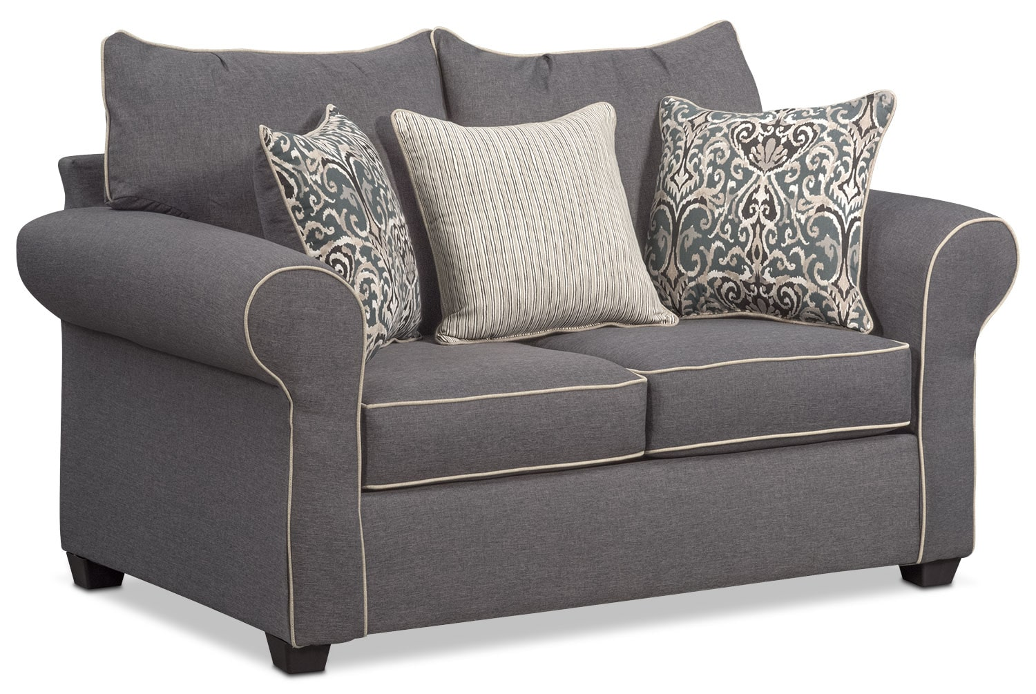 Carla Sofa Loveseat And Accent Chair Set Gray Value City Furniture