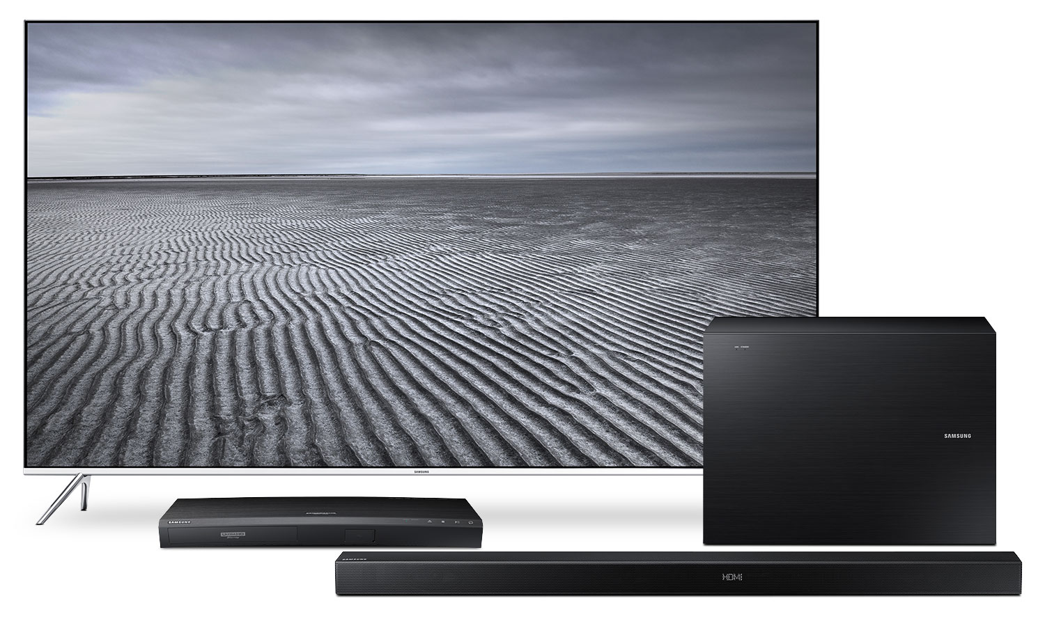 """Samsung 49"""" KS8000 Series 4K SUHD Television with Blu-ray and Audio Package"""