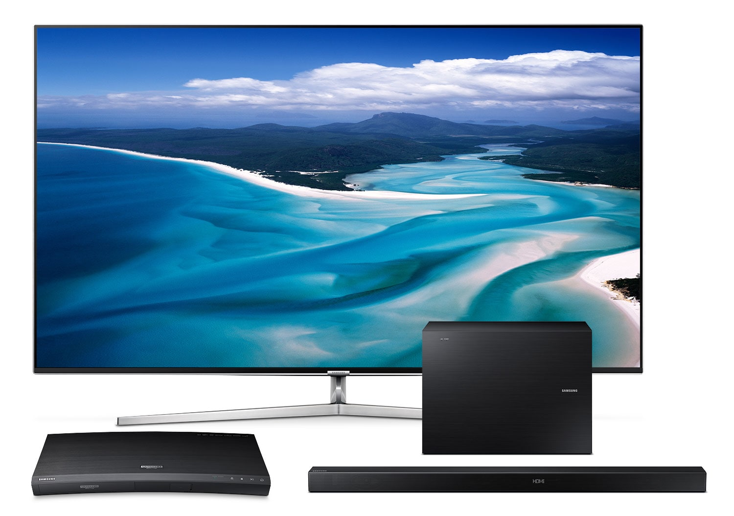 """Samsung 75"""" KS9000 Series 4K SUHD Television with Blu-ray and Audio Package"""