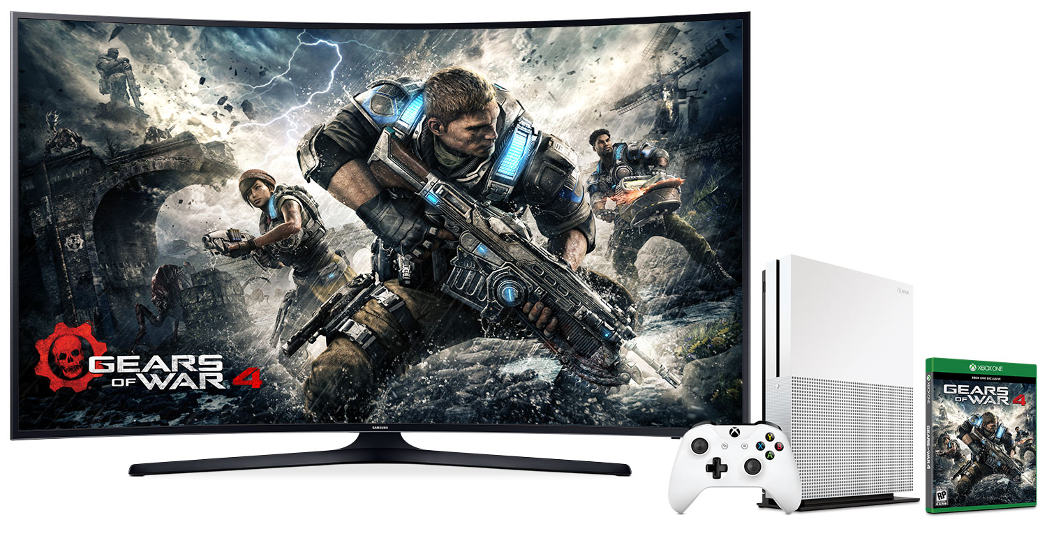 """Samsung 65"""" KU6490 Curved UHD LED Smart Television with Xbox One S Gears of War Bundle"""