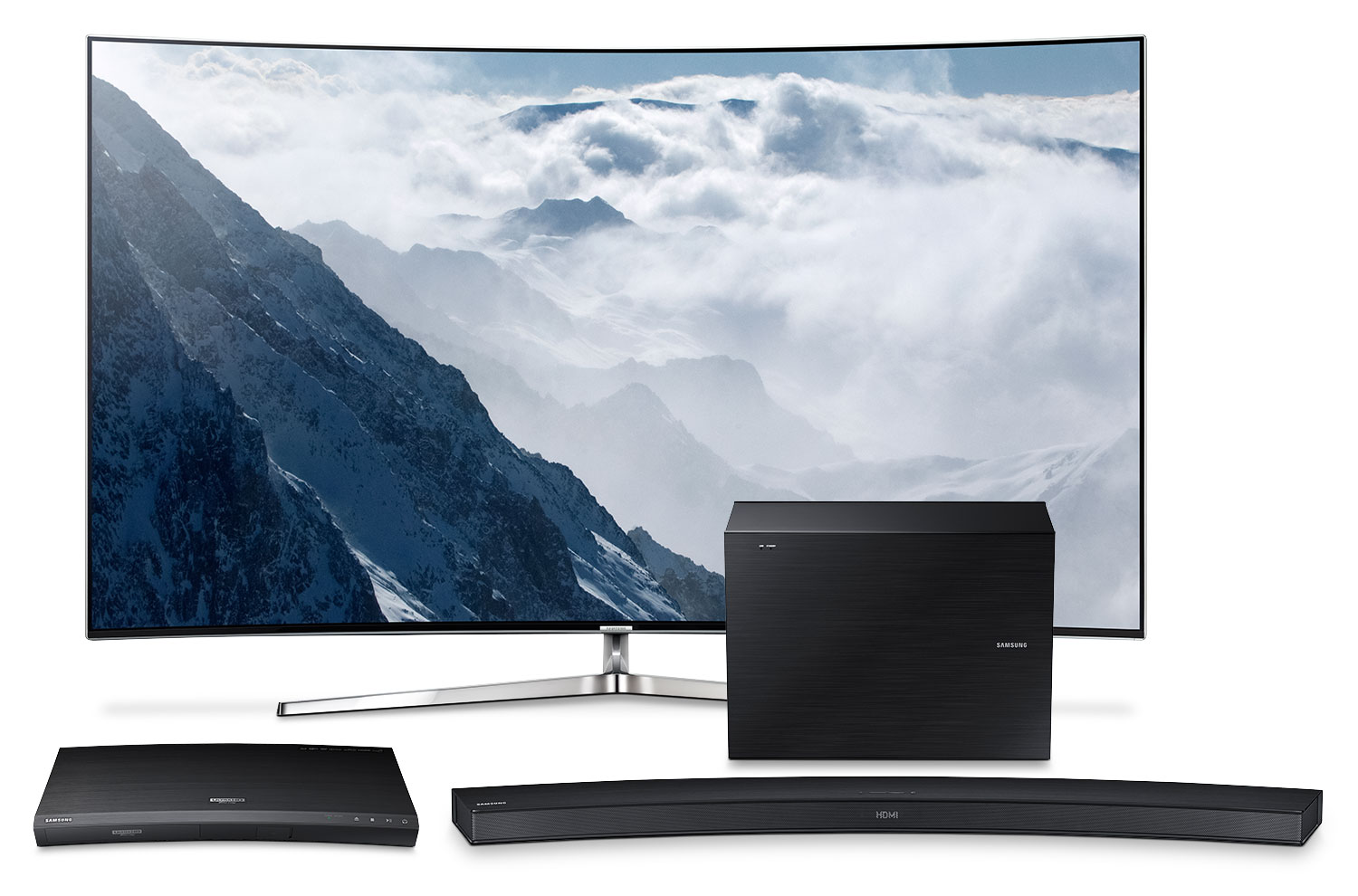 """Samsung 55"""" KS9500 Series Curved 4K SUHD Television with Blu-ray and Audio Package"""