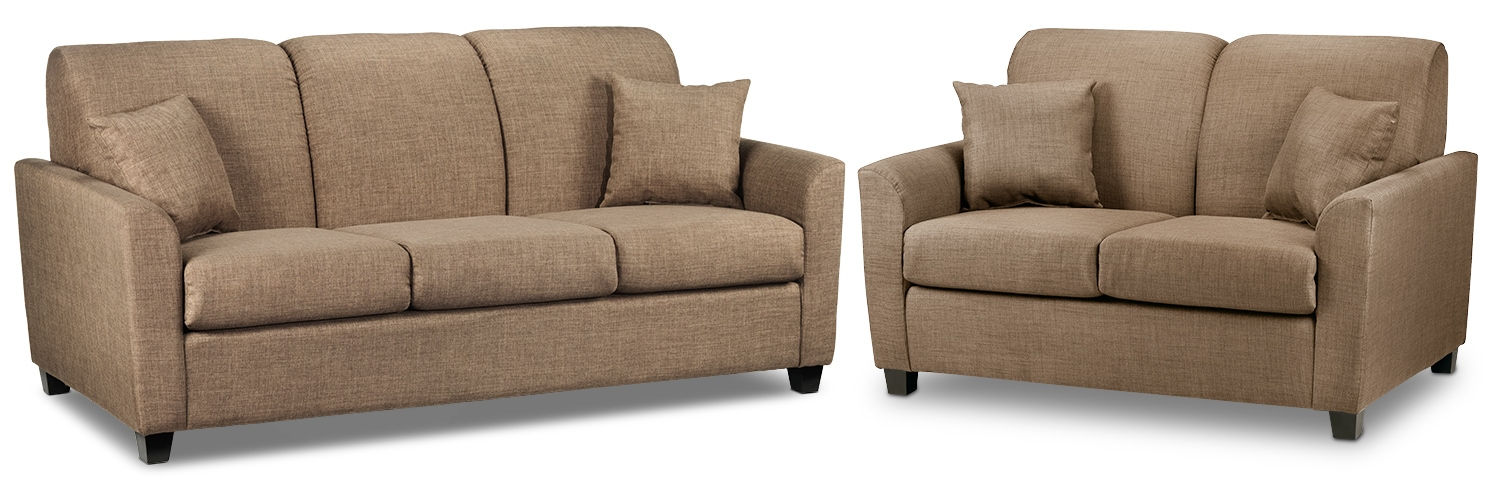 Roxanne Sofa and Loveseat Set - Hazelnut
