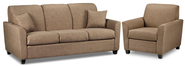 Roxanne Sofa and Chair Set - Hazelnut