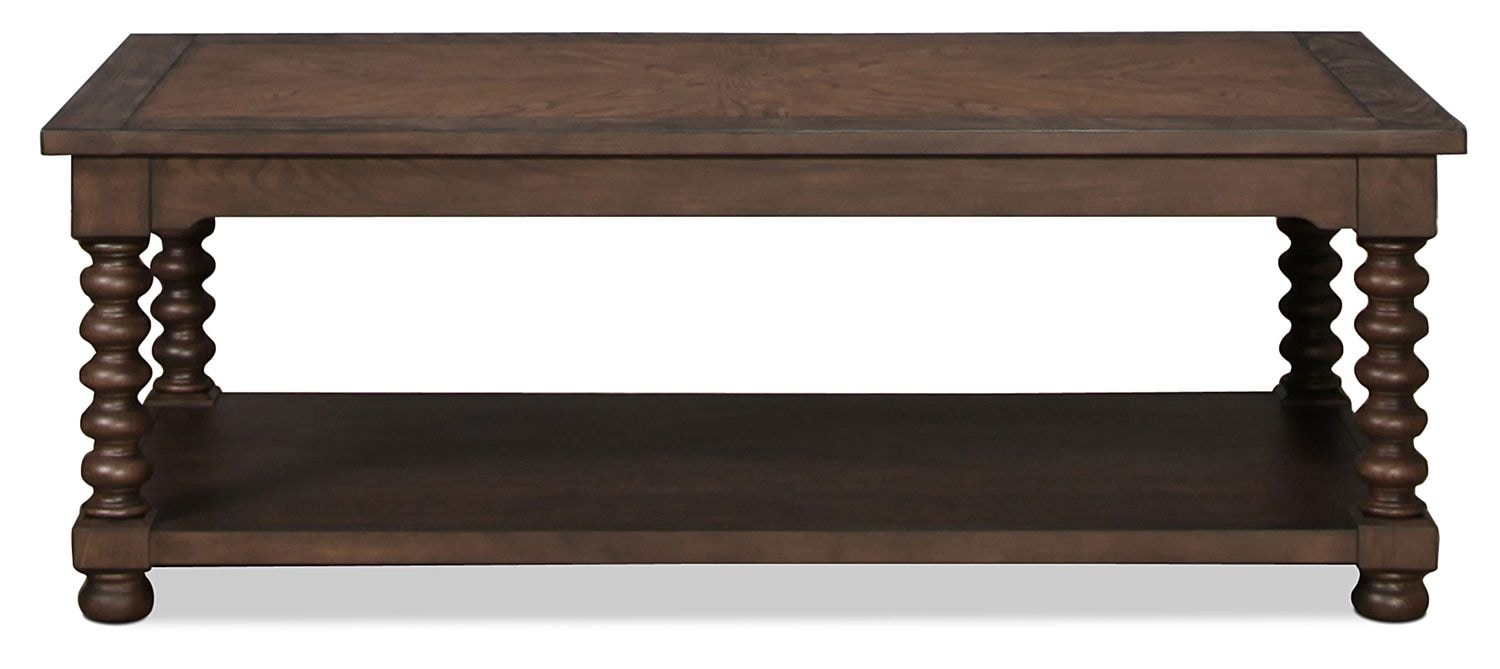 Bar height dining table with storage - Magnolia Home Traditional Spool Leg Coffee Table Levin Furniture