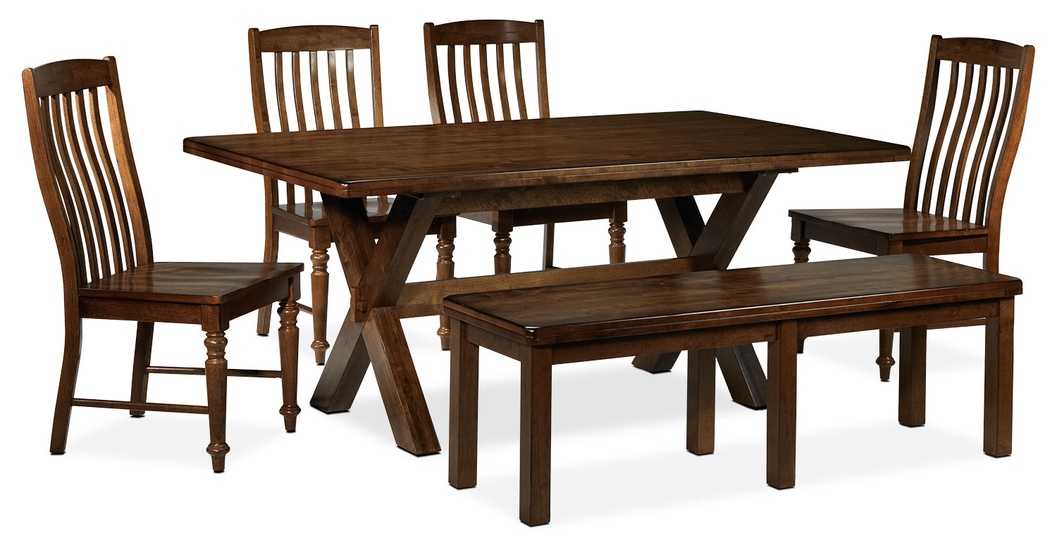 Charles 6-Piece Dining Room Set - Brown Walnut