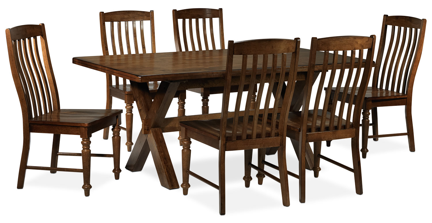 Dining Room Furniture - Charles 7-Piece Dining Room Set - Brown Walnut